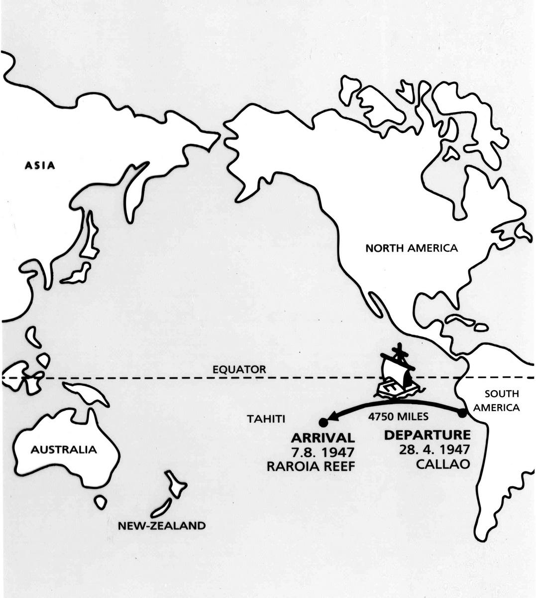 mapa ekspedycji Thora Heyerdahla