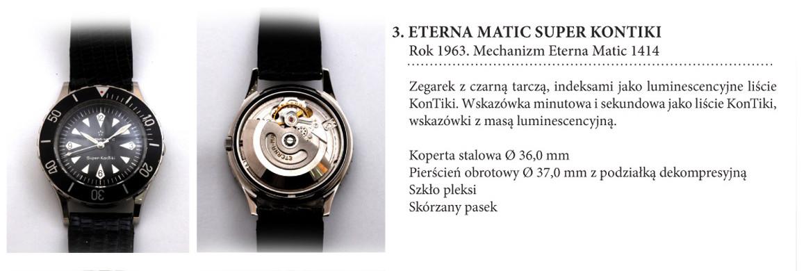 Zegarek Eterna Matic Super KonTiki 1414 ze srebrnymi oznaczeniami