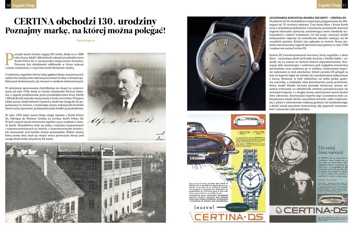 Artykuł o marce Certina w magazynie Zegarki i Pasja