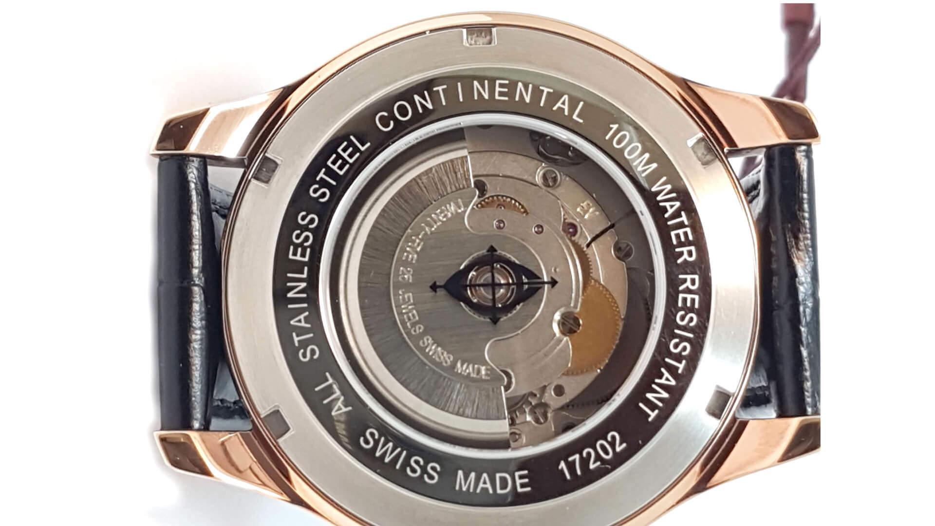 Dekiel zegarka Continental z informacja o poziomie szczelności koperty