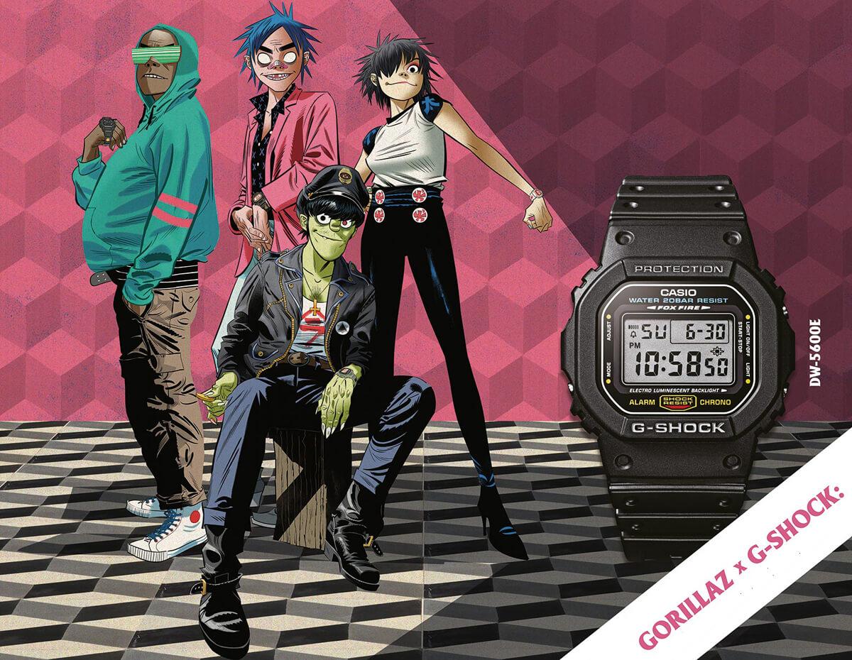 Plakat reklamujący zegarki G-SHOCK powstające we współpracy z GORILLAZ
