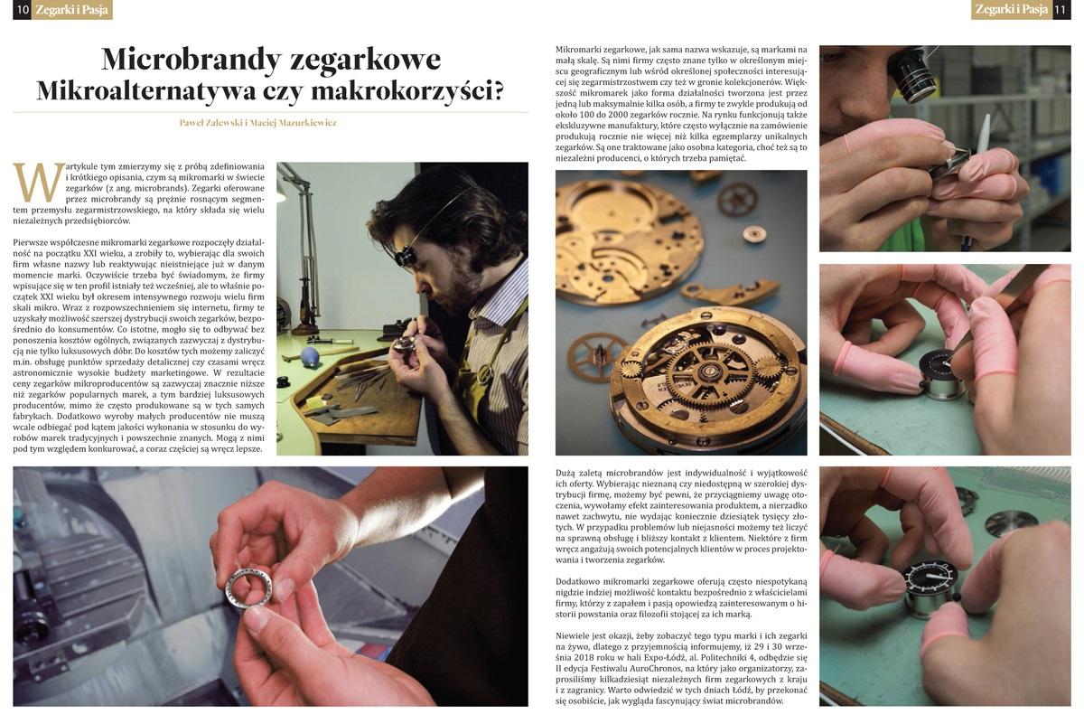 Artykuł o mikrobrandach zegarkowych w magazynie Zegarki i Pasja
