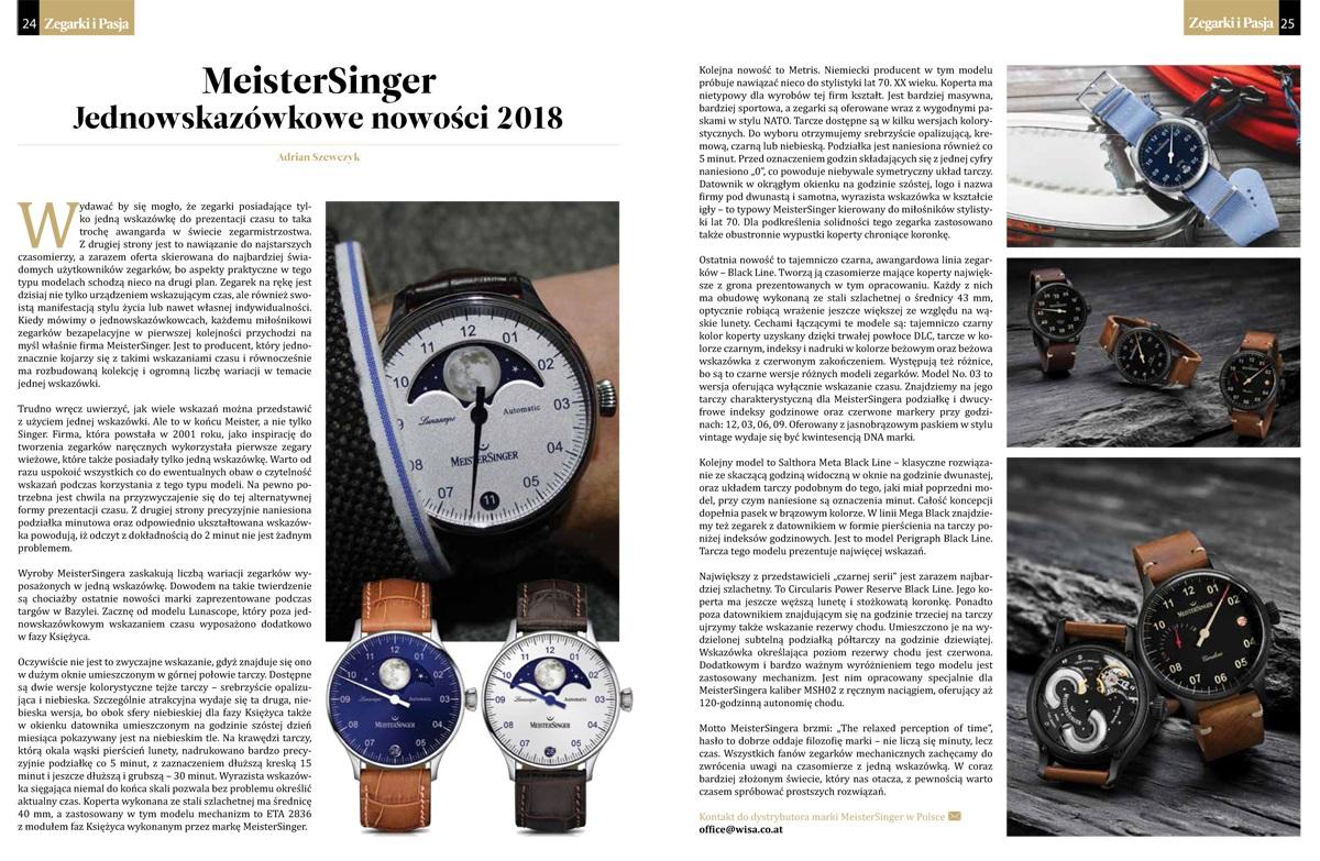 Artykuł o zegarkach MeisterSinger w magazynie Zegarki i Pasja