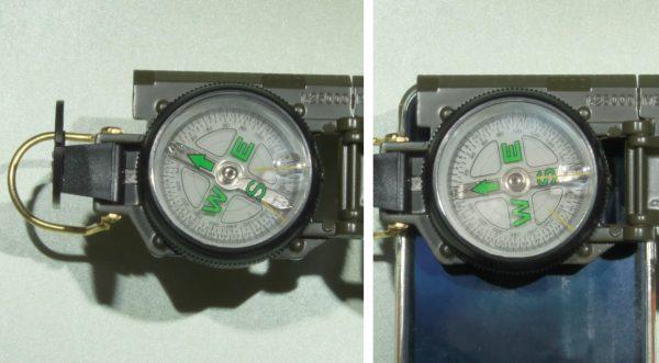 kompas i telefon - działanie pola magnetycznego